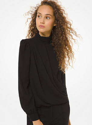 MICHAEL Michael Kors MK Crepe Draped Blouse - Black - Michael Kors