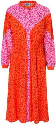 Mads Norgaard Coral Pink Printed Flower Jam Dripla Dress - 34