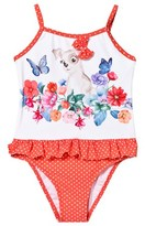 Mayoral Orange Dog and Flower Print Spot Frill Swimsuit