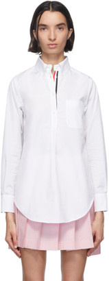 Thom Browne White Poplin Pleat Back Shirt