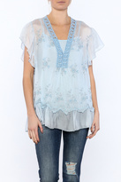 Scandal of Italy Blue Silky Embroidered Top