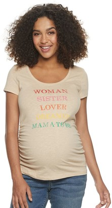 Aglow Maternity a:glow Shirred-Side Graphic Tee