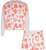 River Island Girls fluro Orange heart sweatshirt pyjama set