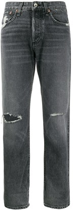 Rag & Bone Distressed Straight-Leg Jeans