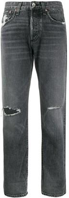 Rag & Bone distressed straight-leg jeans