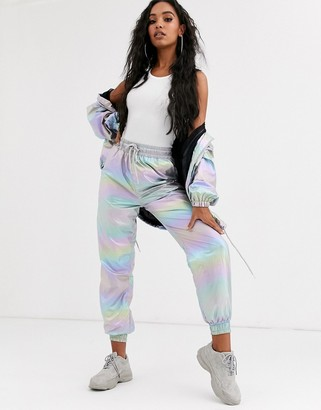 Sixth June cuffed tracksuit bottoms in metallic rainbow co-ord