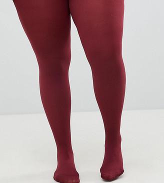 Asos DESIGN Curve super stretch 90 denier tights In burgundy-Red