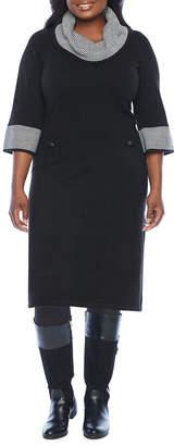 Jessica Howard Plus 3/4 Sleeve Sweater Dress