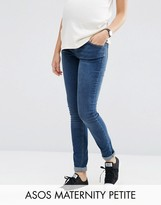 Asos PETITE RIDLEY Skinny Jean In Midwash With Over The Bump Waistband