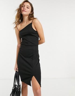 NA-KD asymmetric strap mini dress in black