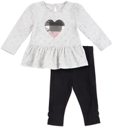Petit Lem White Heart Peplum Top & Black Bow-Hem Leggings - Infant