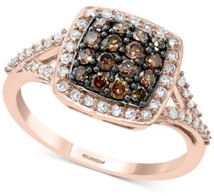 Effy Multi-Colored Diamond Cluster Statement Ring (5/8 ct. t.w.) in 14k Rose Gold