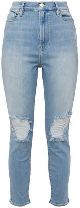 Frame Ali Distressed Faded High-rise Slim-leg Jeans