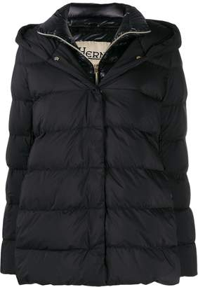 Exact Product: Kendall Jenner Black Oversized Puffer Long Jacket Street Style Autumn Winter 2020, Brand: Herno, Available on: shopstyle.com, Price: $754