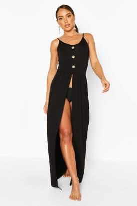 boohoo Jersey Split Leg Button Maxi Beach Dress