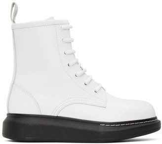 Alexander McQueen White Hybrid Lace-Up Boots