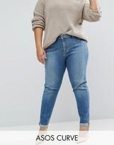 Asos KIMMI Shrunken Boyfriend Jeans In Clover Mid Stonewash with Raw Hem Turn-up