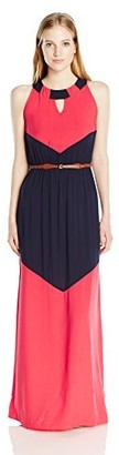 Amy Byer A. Byer Junior's Sleeveless Color Block Maxi Dress with Belt
