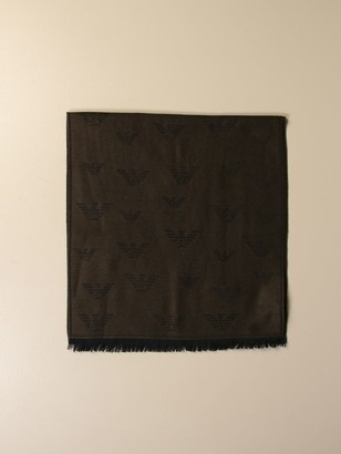 Emporio Armani Scarf Wool Scarf With All Over Logo