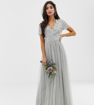 Maya Petite Bridesmaid v neck maxi tulle dress with tonal delicate sequins in silver