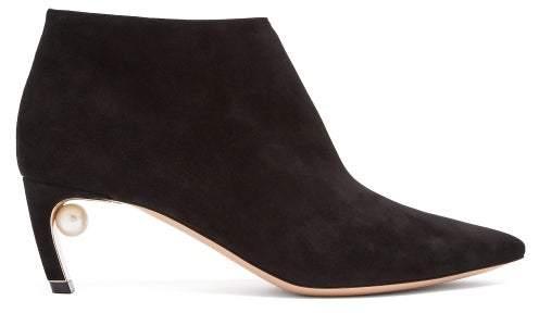 Nicholas Kirkwood Mira Pearl Heeled Suede Ankle Boots - Womens - Black