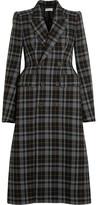 Balenciaga Double-breasted Plaid Wool Coat - Gray