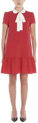 RED Valentino Pussy Bow Ruffle Trimmed Mini Dress