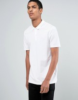 Asos Longline Skater Fit Pique Polo In White