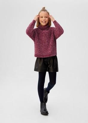 MANGO Funnel neck knit sweater maroon - 5 - Kids