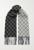 Thumbnail for your product : Valentino Garavani Fringed Wool And Cashmere-blend Jacquard Scarf - Black