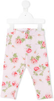 MonnaLisa rose print leggings - kids - Cotton/Spandex/Elastane - 6 mth
