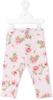 MonnaLisa rose print leggings - kids - Cotton/Spandex/Elastane - 9 mth