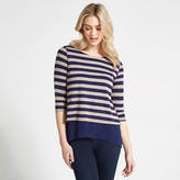 Apricot Navy & Stone Stripe Print Double Layered Long Sleeved Top