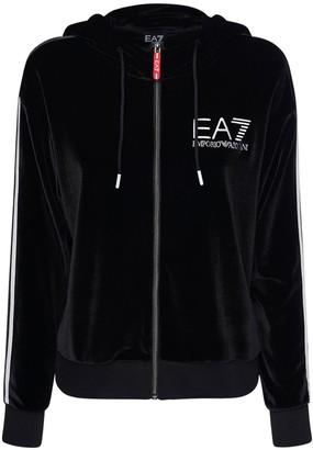EA7 Emporio Armani Zip-Up Velour Sweatshirt Hoodie
