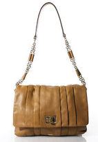 Anya Hindmarch Light Brown Pleated Leather Flap Single Strap Shoulder Handbag