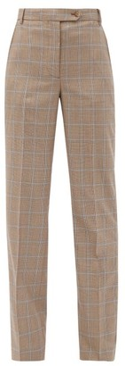 Burberry Fleur Checked Wool Trousers - Brown Multi