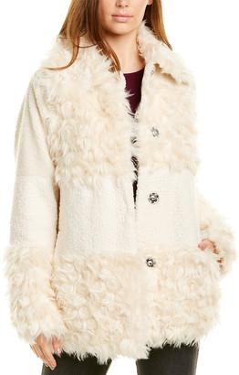 Kensie Sherpa Patchwork Coat