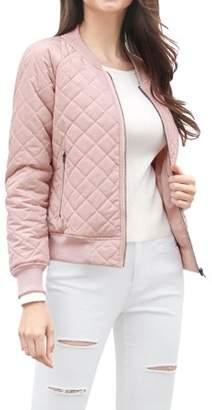 Unique Bargains Women's Quilted Zip Up Moto Raglan Sleeves Bomber Jacket M Pink