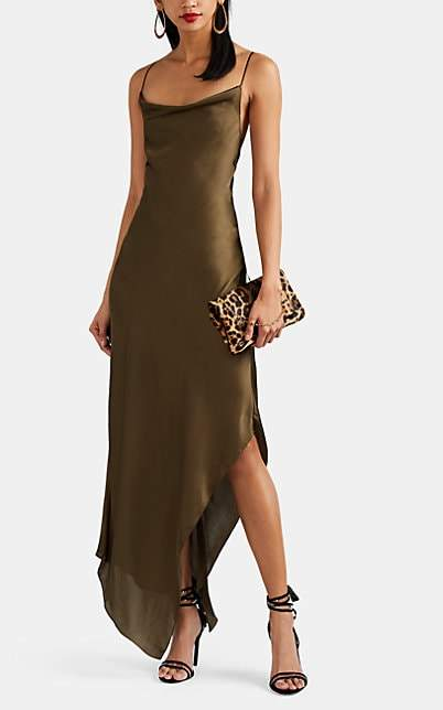 Juan Carlos Obando Women's Washed Satin Asymmetric Cowlneck Dress - Olive