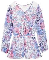 Ella Moss Girls' Lace Trimmed Floral Romper - Big Kid