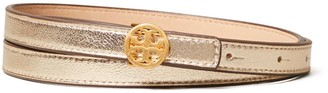 Tory Burch Metallic Skinny Double 'T' Belt