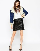 Asos PU Mini Skirt With Draw String And Cord Waist