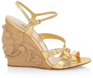 Miu Miu Floral-Engraved Metallic Leather Wedge Sandals