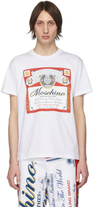 Moschino White Budweiser Edition Logo T-Shirt
