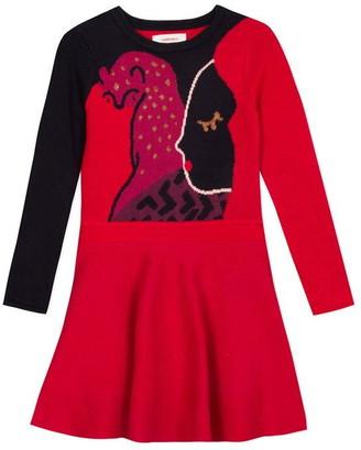 Catimini Sweater Dress In Large Face Jacquard