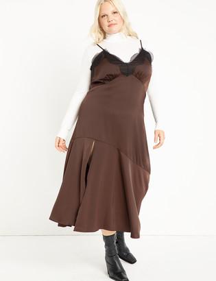 ELOQUII Satin Slip Dress With Lace Trim