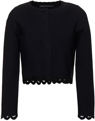 Oscar de la Renta Cropped Guipure Lace-trimmed Stretch-knit Cardigan