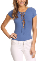 Denim Blue Lace-Up Bodysuit