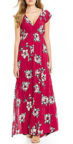 Billabong Flutter In The Rain Floral Print Lace-Up Back Maxi Dress
