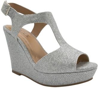 Sugar Crystal Platform T-Strap Wedge Sandal